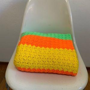 Vintage 70's Green Orange Yellow Neon Knit Blanket
